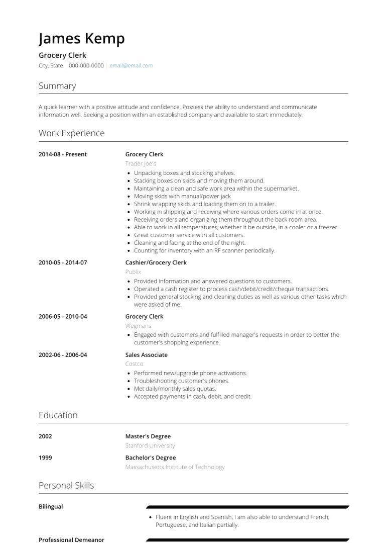 Shipping and Receiving Clerk Resume Elegant Grocery Store