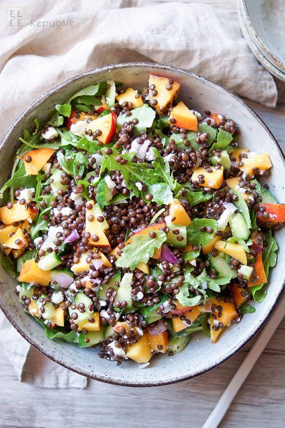 Photo of nectarine lentil salad recipe with cucumber, red onion, feta, lemon, vegetarian