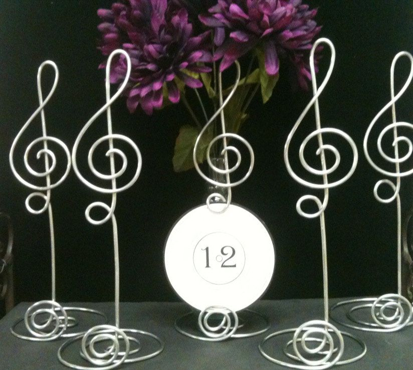 10 Jumbo Card Holder Music Note Silver 10 Inch Treble Clef Card