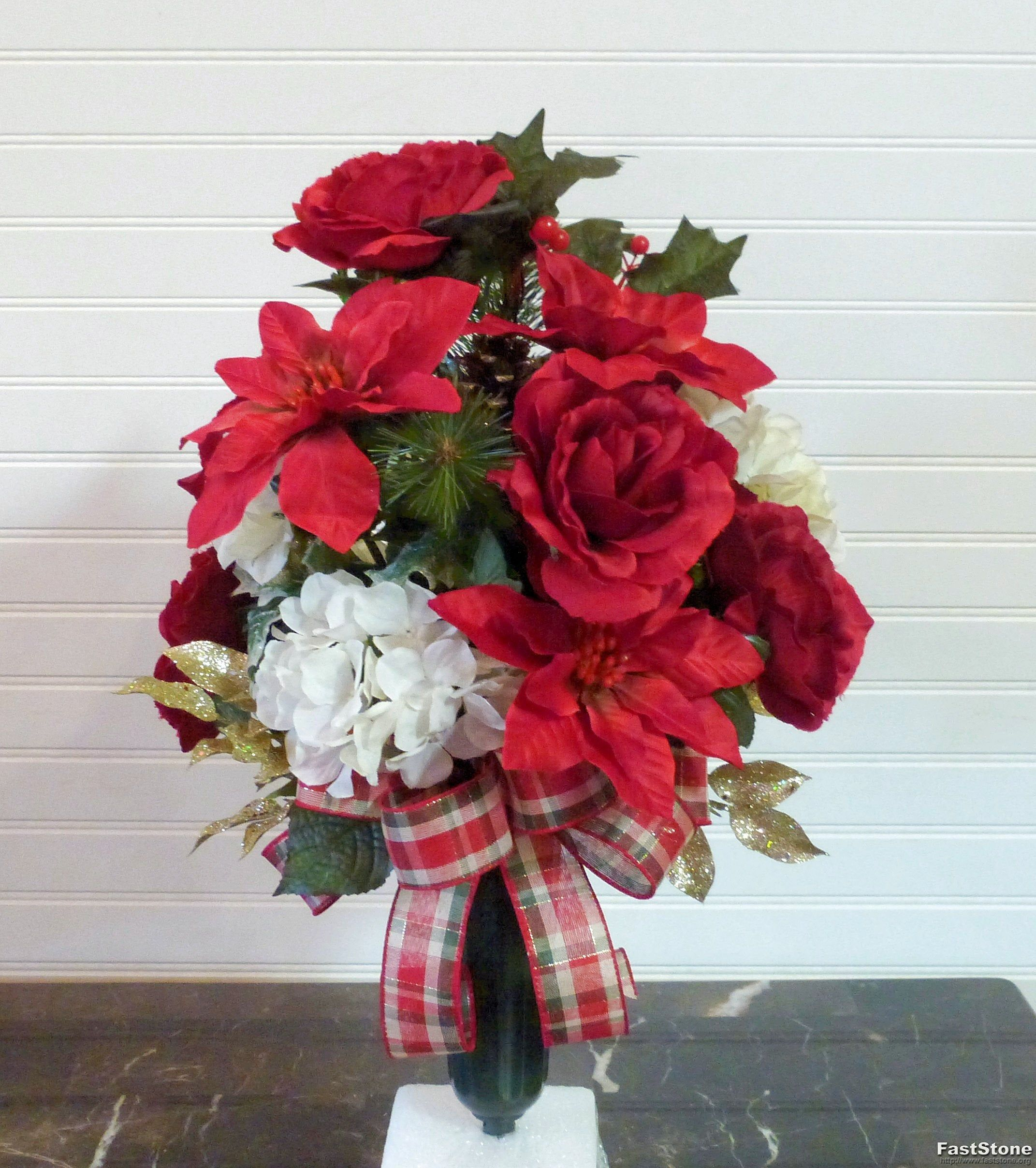 Red Poinsettia Cemetery Vase, Christmas Cemetery