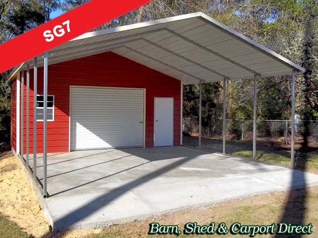 Single Car Storage Garage With Carport 22 X 31 X 9 Sg7 Barn Shed Carpot Direct Metal C Metal Farm Buildings Carport With Storage Building A Garage