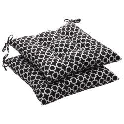 Pillow Perfect Outdoor Tufted Black/ White Geometric Seat Cushion (Set Of 2)