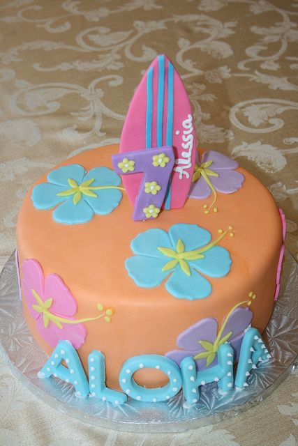 Fantastic Hawaiian Themed Birthday Cake With Images Luau Cakes Luau Personalised Birthday Cards Cominlily Jamesorg