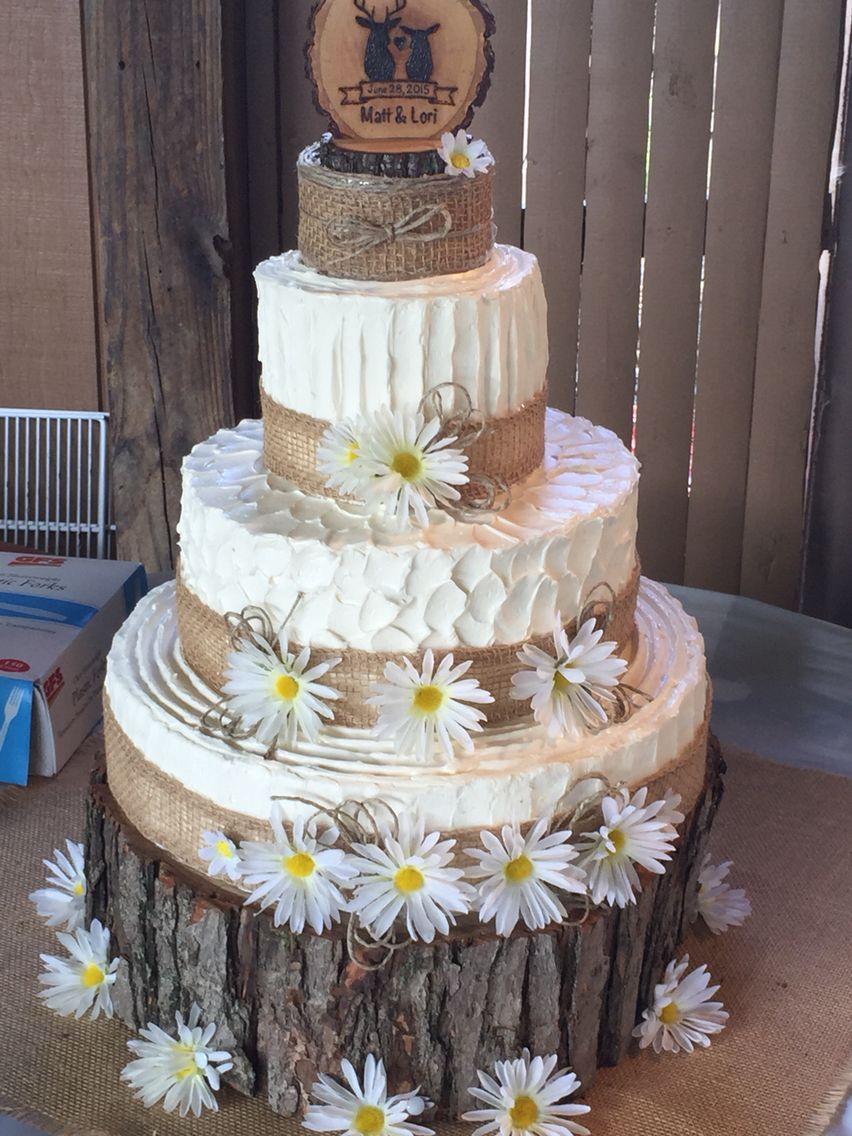 My First Wedding Cake Rustic Daisy Burlap Burlap Wedding Cake Wedding Cake Stands Wedding Cakes