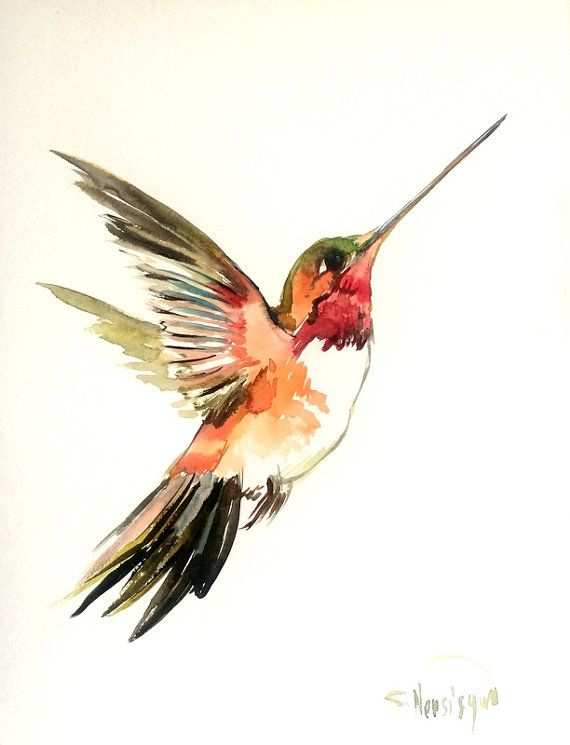 Hummingbird painting, original watercolor painting, flying ...