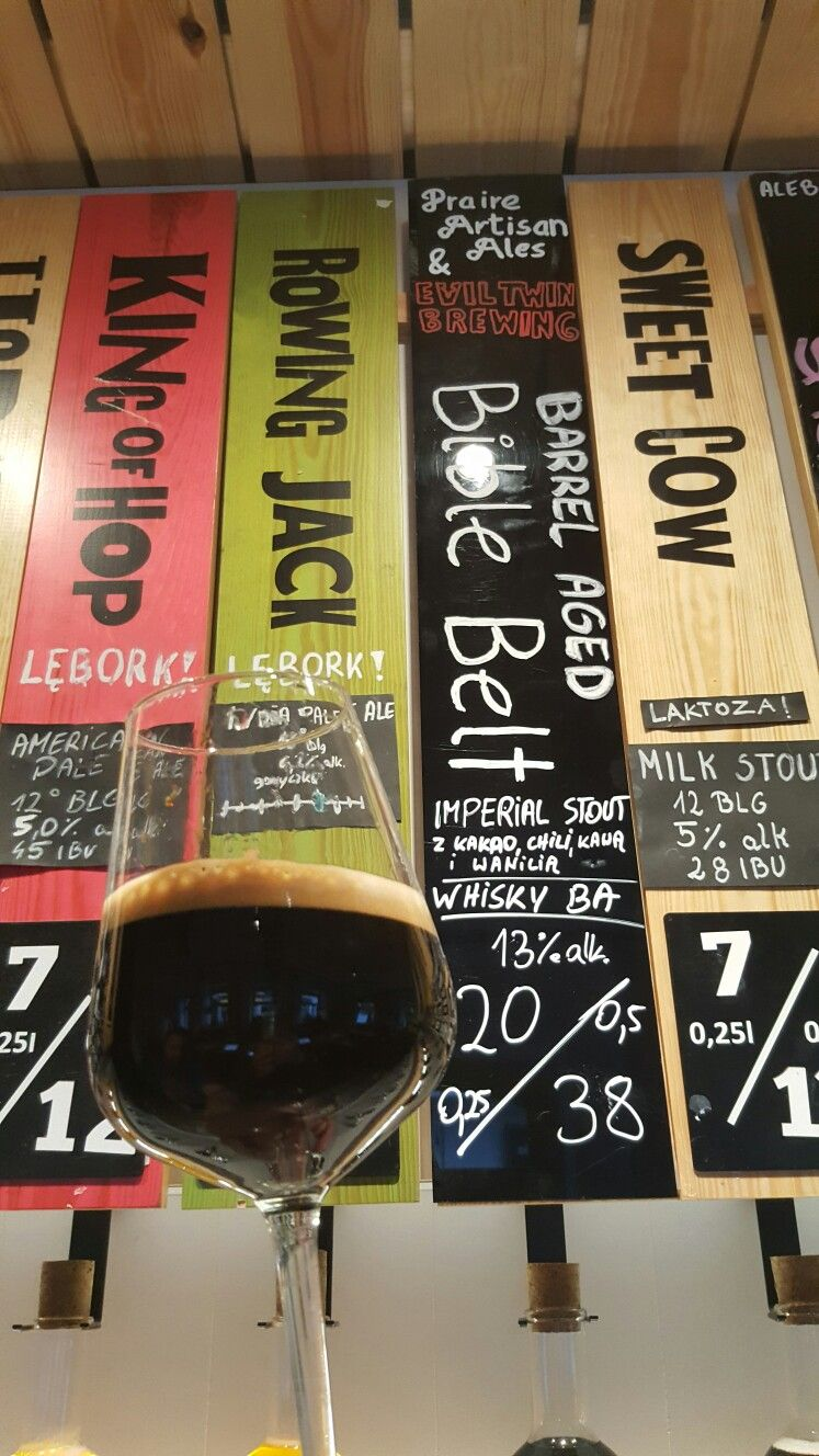Praire Artisan Ales & Evil Twin Brewing Barrel Aged Bible Belt Imperial Stout. At Alebrowar Bar Wroclaw Poland. #CraftBeer #RealAle #Ale #Beer #BeerPorn #Wroclaw #Poland #Alebrowar #AlebrowarWroclaw #BarrelAgedBibleBelt #BibleBeltImperialStout #PraireArtisanAles #EvilTwinBrewing #EvilTwin #AmericanCraftBeer #AmericanBeer