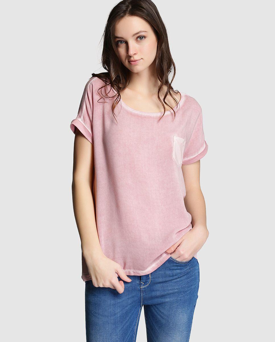 Camiseta de mujer Esprit rosa con manga corta