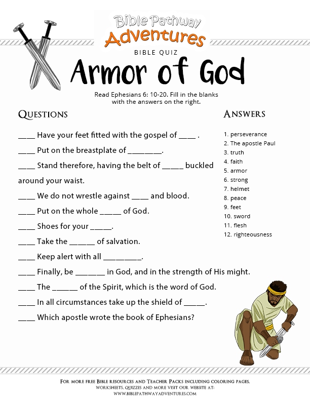 Influential image pertaining to armor of god printable activities