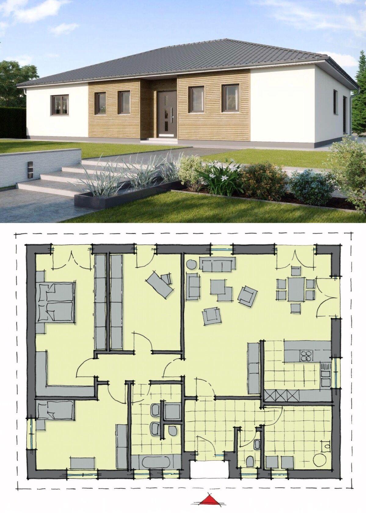 Bungalow Haus modern mit Walmdach Architektur & Holz Putz Fassade, 4 ...