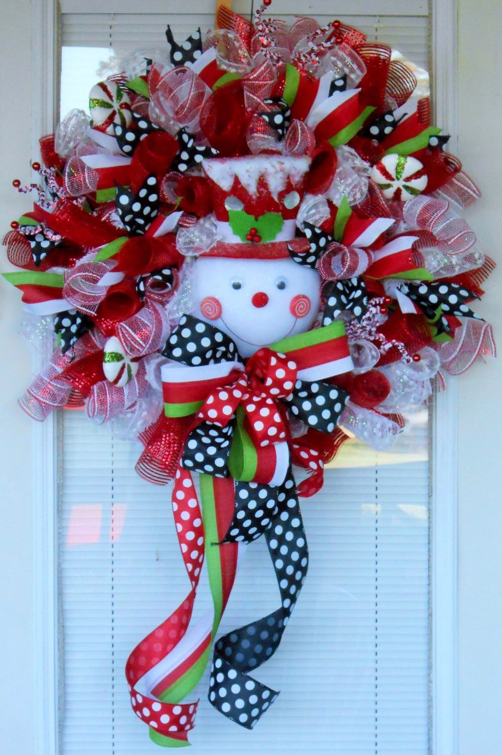XXL Red and white snowman Christmas deco mesh wreath