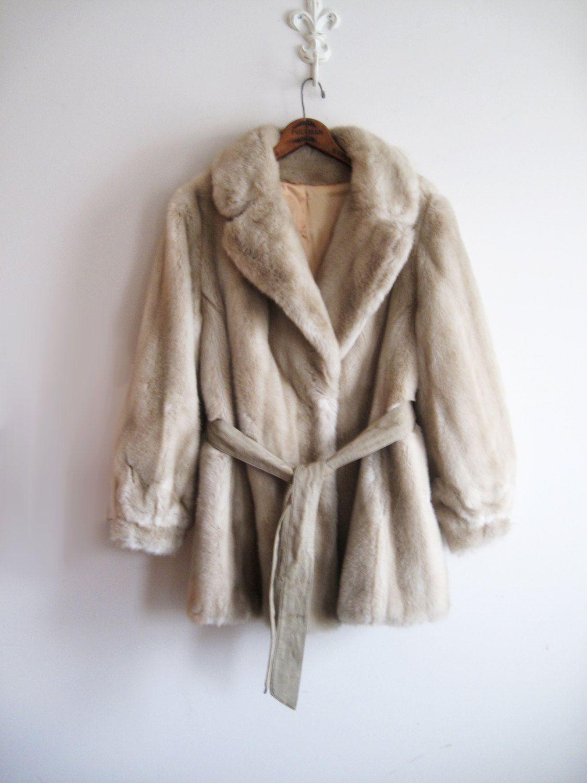 Vintage Faux Fur Coat Beige Size 14 By Grandella Ii Faux Leather Belt Valentines Day - http://goo.gl/ZBGf5R