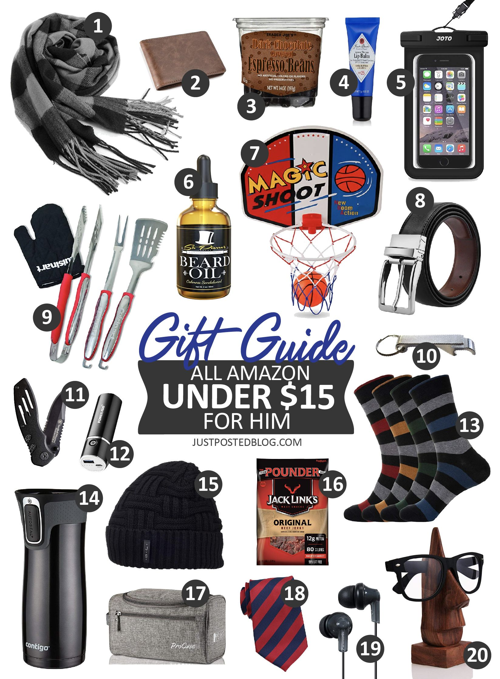 Amazon Stocking Stuffer Gift Guide for Him - All under $15!