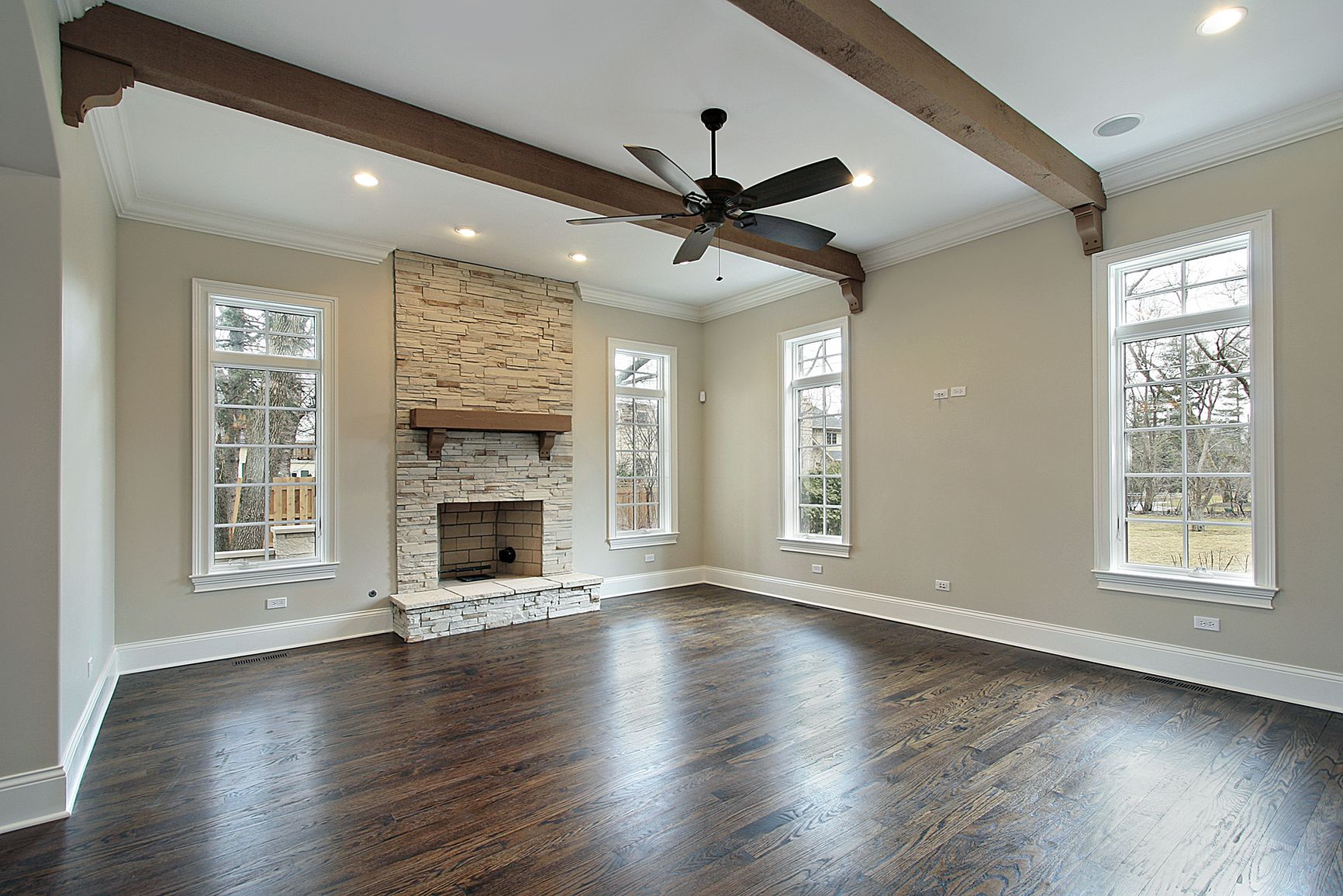 painted wood.beems | Family room with ceiling wood beams | Home ...