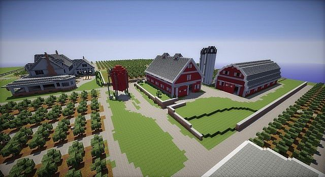Farm House and Red Barns