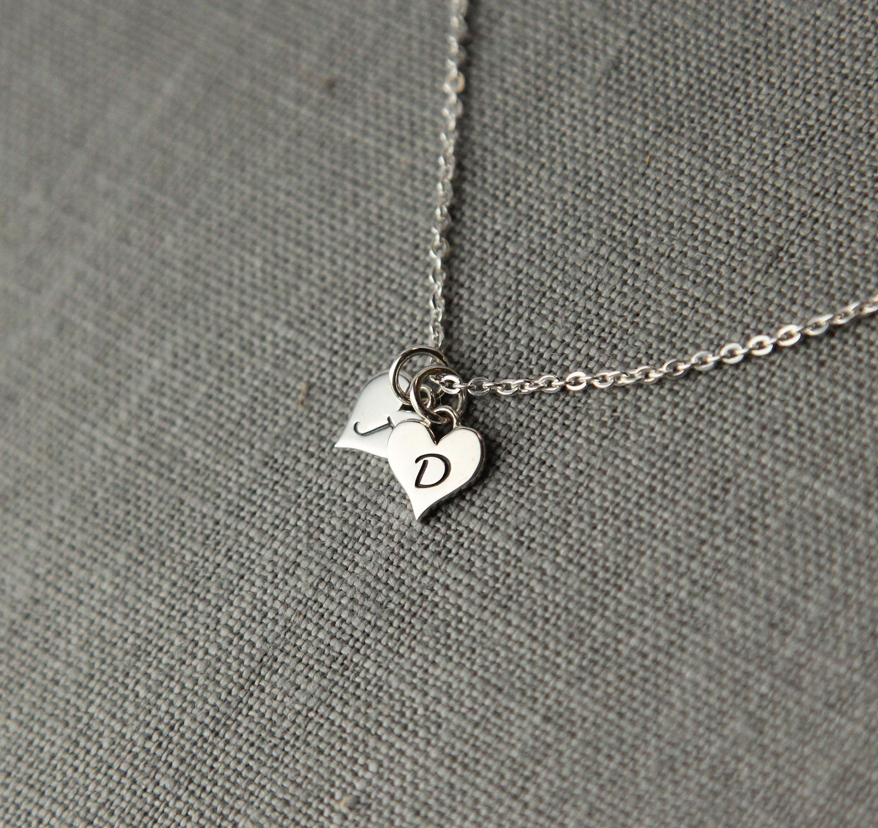Sterling Husband and Wife Initial Necklace Girlfriend Boyfriend Custom Couples Initial BIRTHDAY GIFT for HIM with Date and Initials