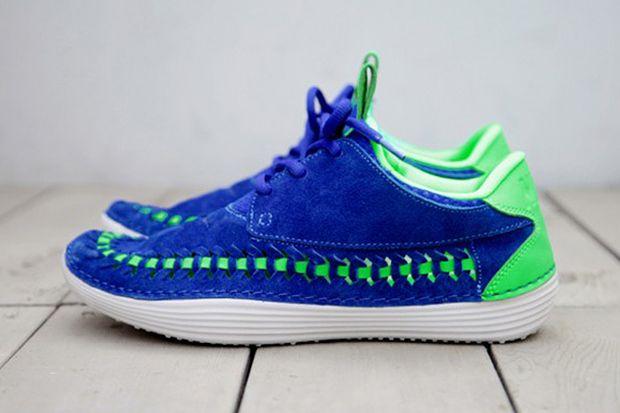 Nike 2013 Summer Solarsoft Mocassin Premium Woven Hyper Blue/Poison Green #sneakers