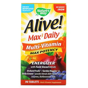 Nature S Way Alive Max3 Daily Multi Vitamin No Added Iron 90 Tablets In 2021 Multivitamin Vitamins Multivitamin Supplements