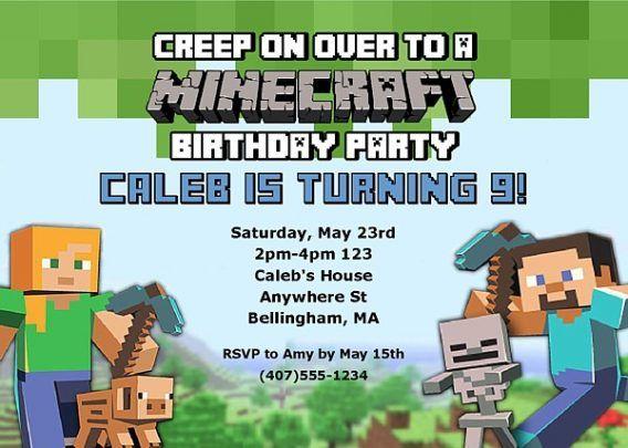 minecraft birthday party invitations to
