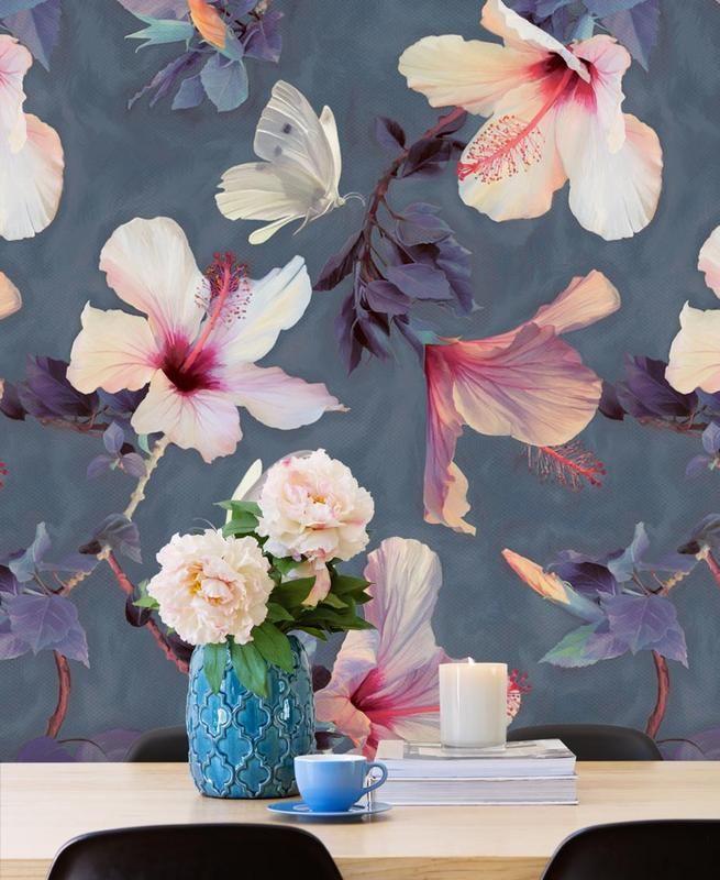 Butterflies & Hibiscus Flowers as Wallpaper