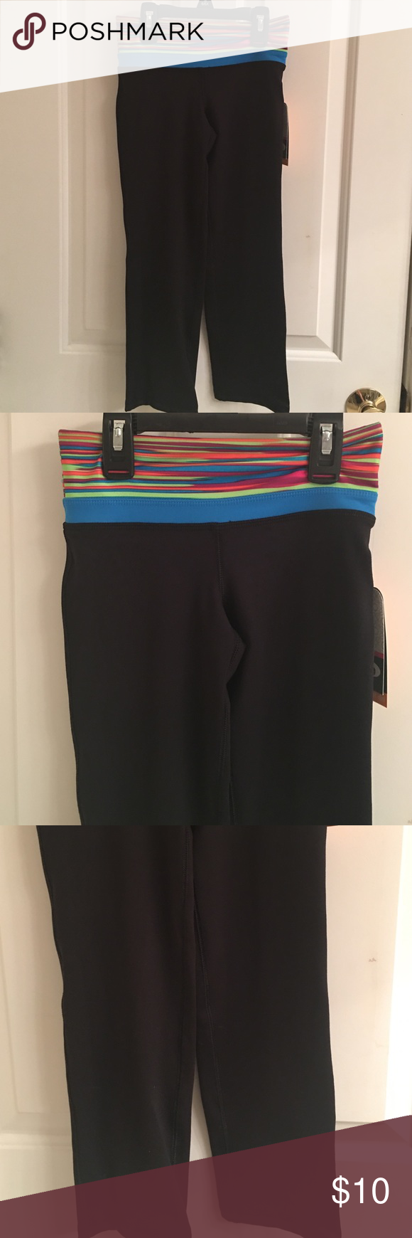 e1685f4460392 NWT- Girls MTA Sport Black Pants NWT- Girls MTA Sport black yoga pants.  Multi-color striped waistband. She will stay cool and dry.