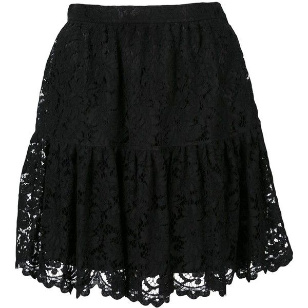 Saint Laurent Lace Mini Skirt (€1.215) ❤ liked on Polyvore featuring skirts, mini skirts, bottoms, kirna zabete, ruffle skirt, short mini skirts, mini skirt, short skirts and lace skirt