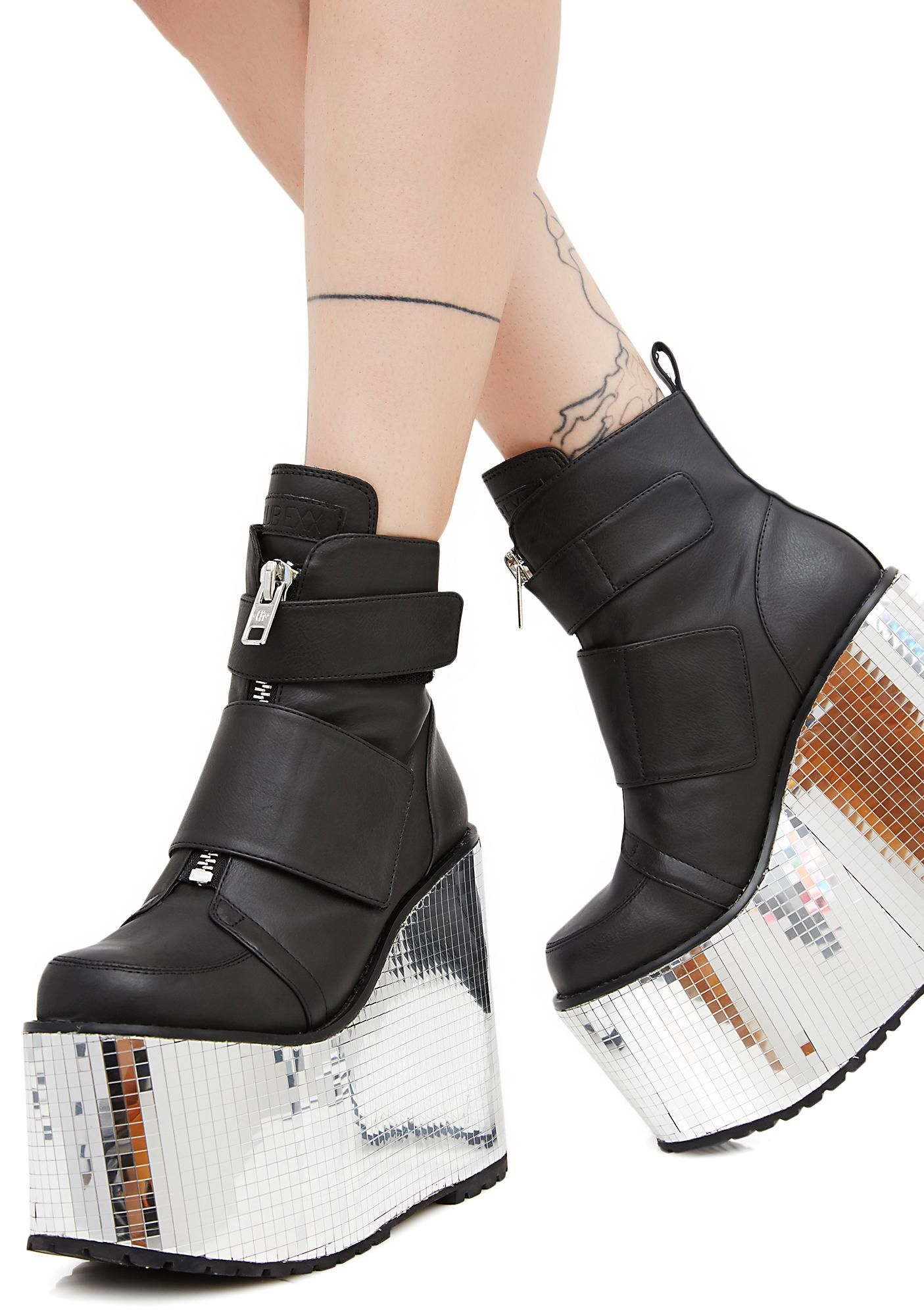 b33dfb17d4d Club Exx Diabolical Disco Platform Wedges Plato