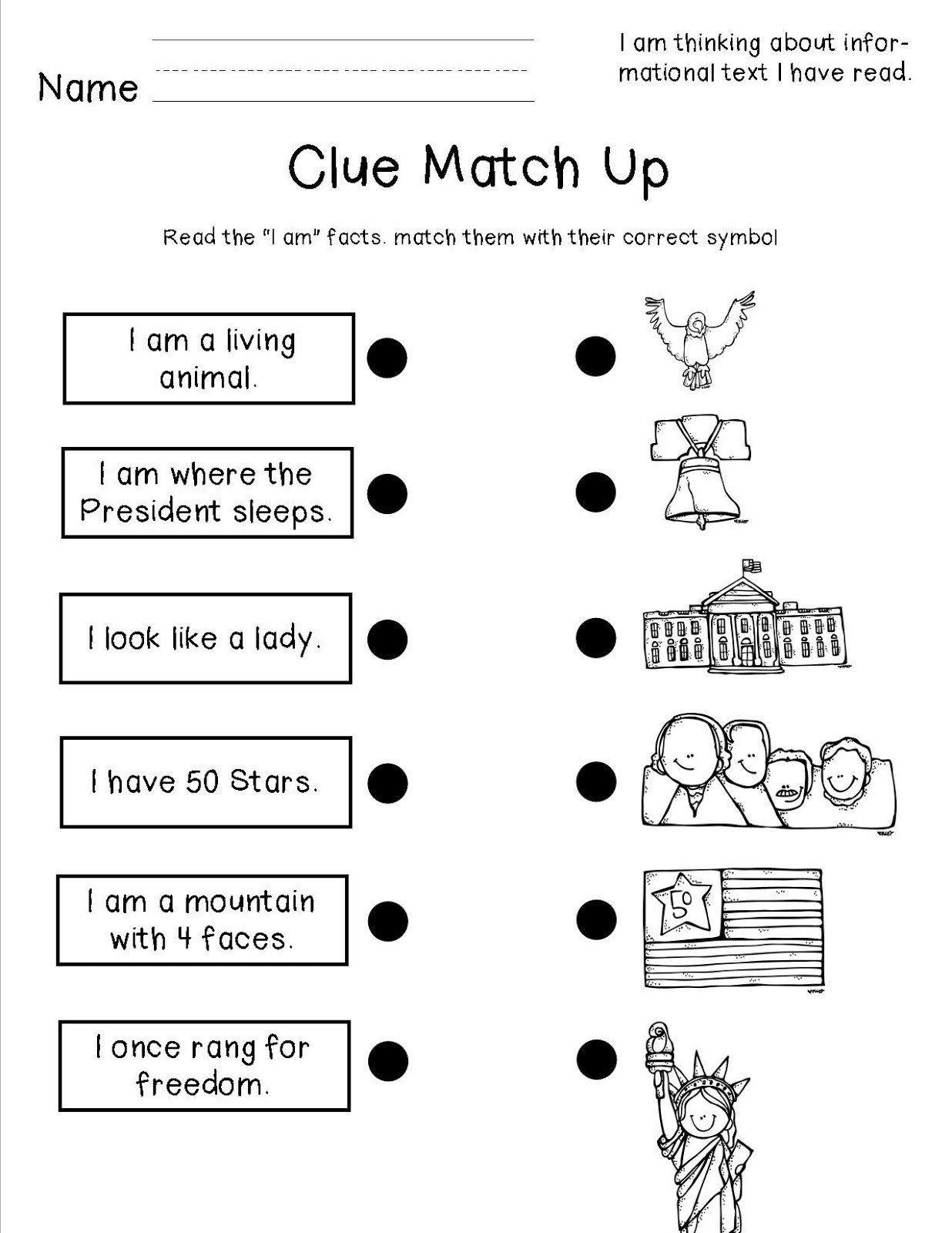 Kindergarten American Symbols Worksheet National Symbols