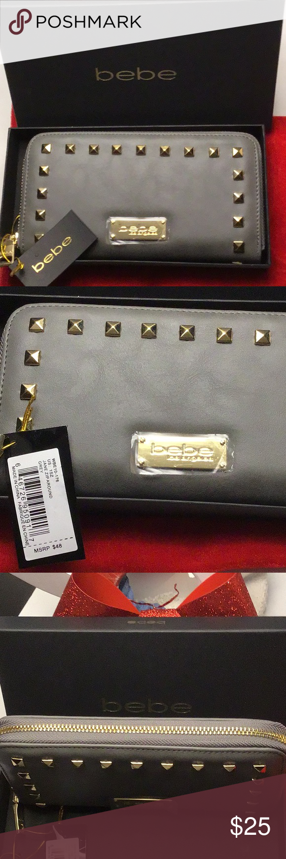 """6516b05854 Brand New """"bebe"""" Grey Jane Zip Around Wallet Brand new with tags & come  with box. Gold tone hardware and studs. Middle inside zippered compartment  with ..."""