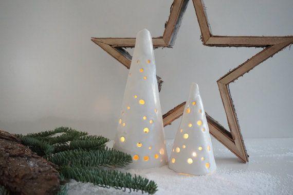 Ceramic Christmas lantern hand-made white Christmas by MyRotara - christmas home decor