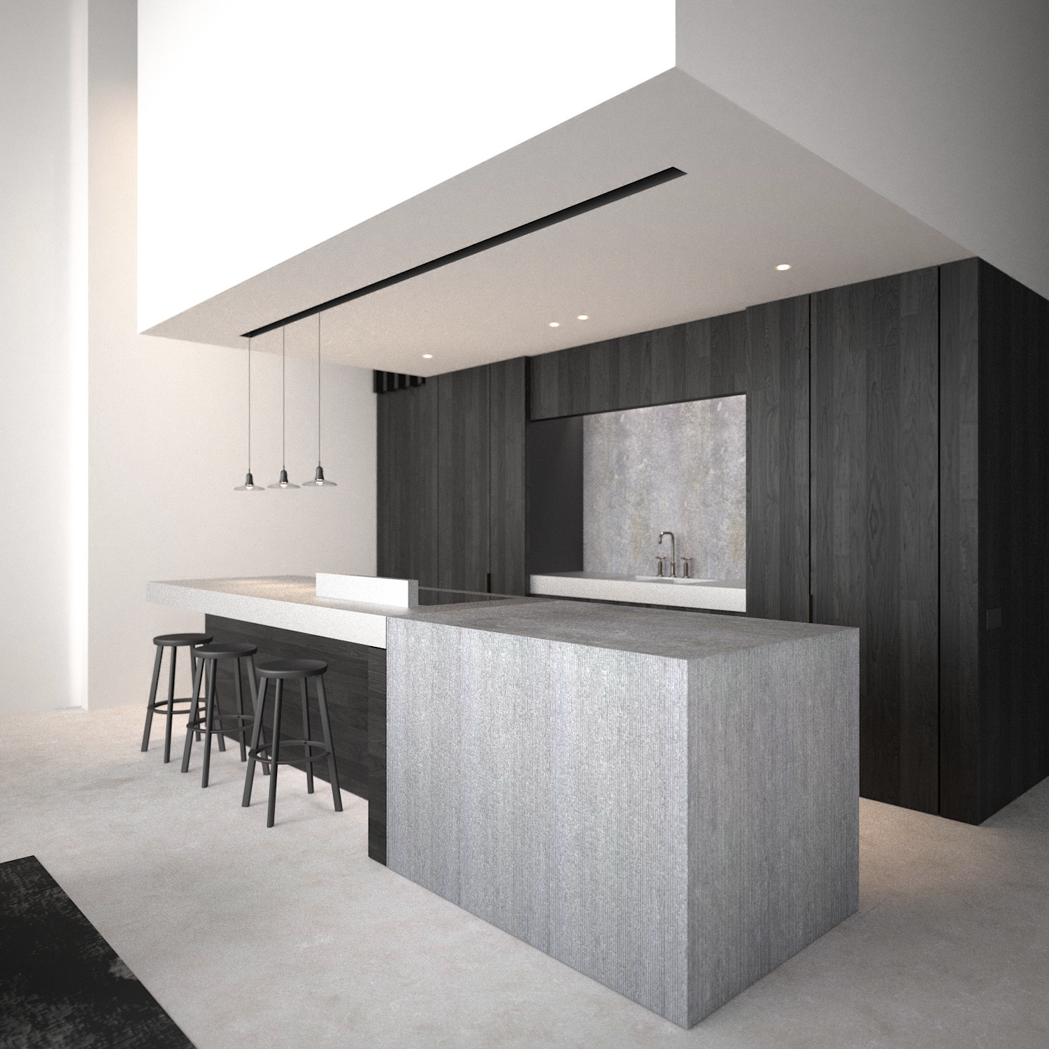 AD office interieurarchitect - Dark planked oak kitchen in combination with bluestone and brushed aluminium countertop. Pendants by Brokis.