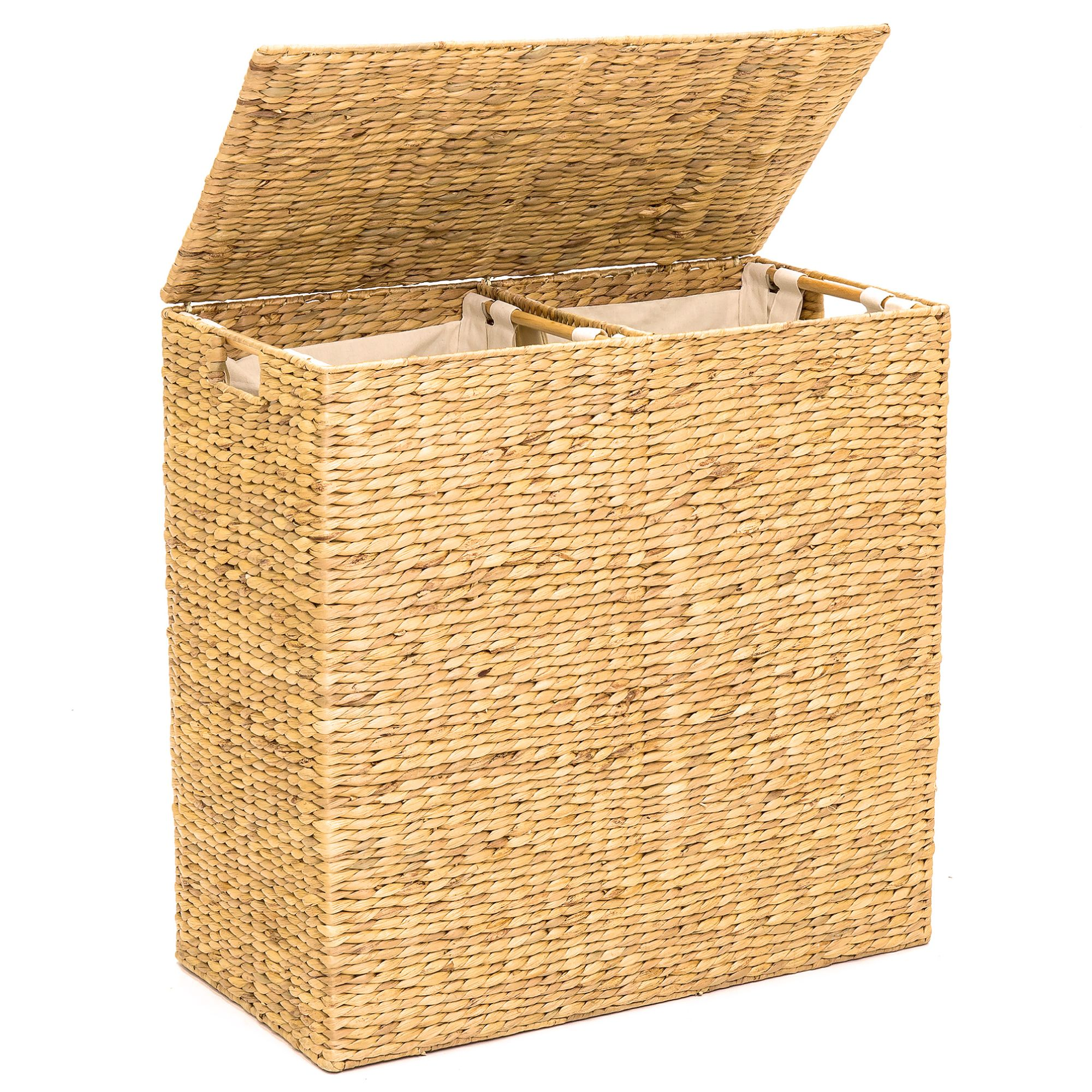 Free 2-day shipping. Buy Best Choice Products Extra Large Natural Woven Water Hyacinth Double Laundry Hamper Basket w/ 2 Liners, Handles-Natural at Walmart.com