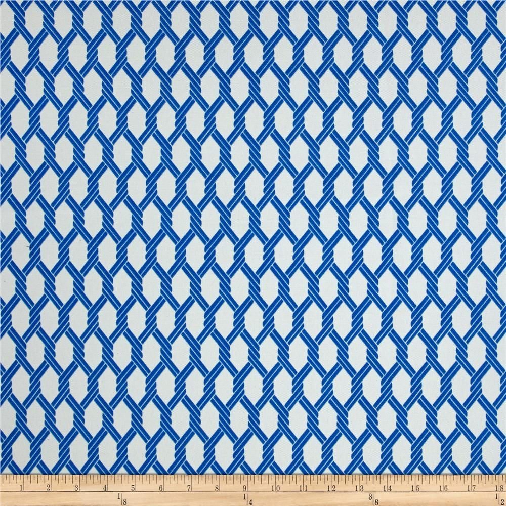 From P/Kaufmann, this great outdoor fabric is perfect for outdoor settings and indoors in sunny rooms. It is fade resistant up to 500 hours of direct sun exposure. Create decorative toss pillows, chair pads, tabletop and tote bags. To maintain the life of the fabric bring indoors when not in use. Colors include white and blue.