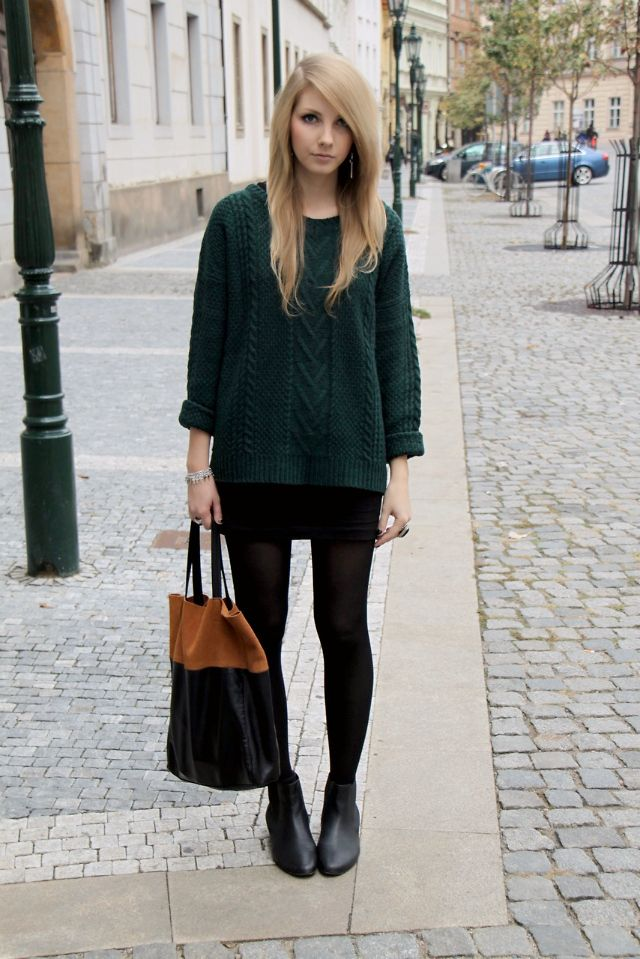 Forest Green Sweater Black Skirt Or Dress And Tights Would Look