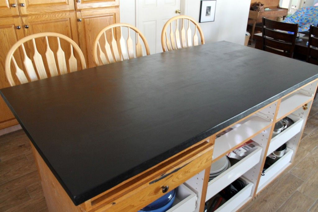 Charmant Chakboard Paint And Wax   Over Double Layer Of Plywood DIY Faux Soapstone  Countertop | Chris Loves Julia