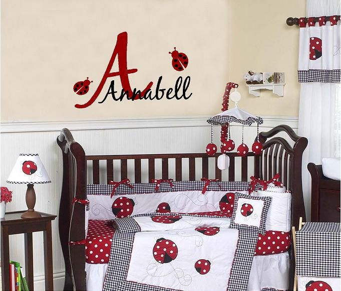 Personalized Monogram Ladybug Vinyl Lettering decal wall words ...