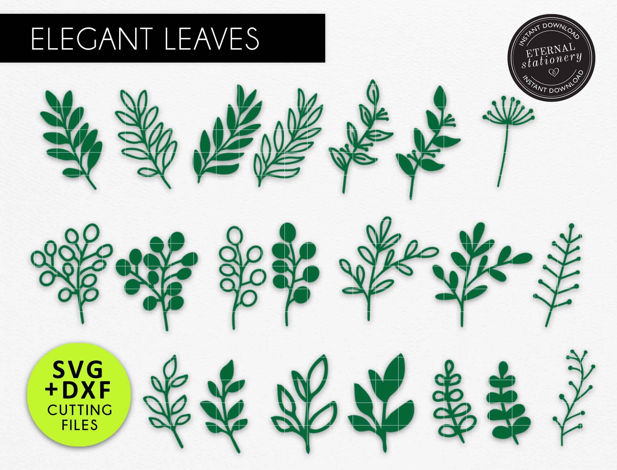 Paper AutumnFall Leave SVG Set of 17 Leaves of two layers Leaves Template CricutSilhouette Ready Paper Flower Leaves