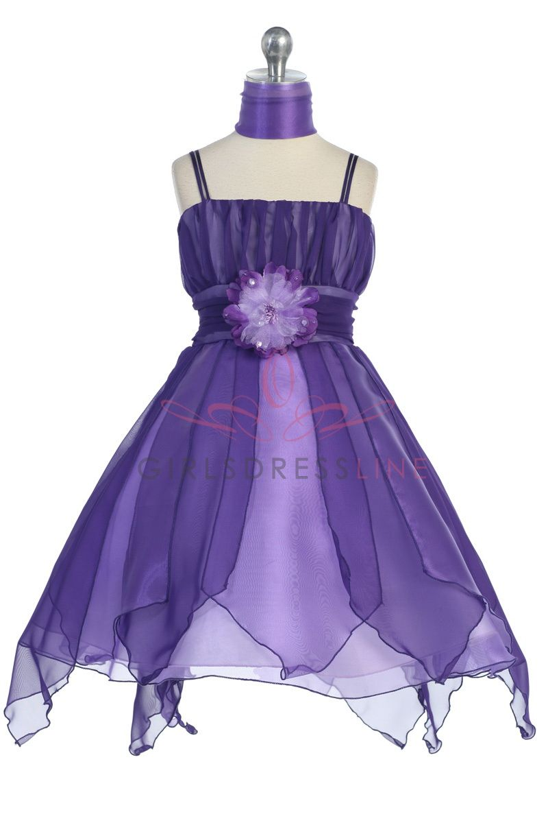 purple bridesmaids dresses | Purple Chiffon Ruffled Jr. Bridesmaid ...