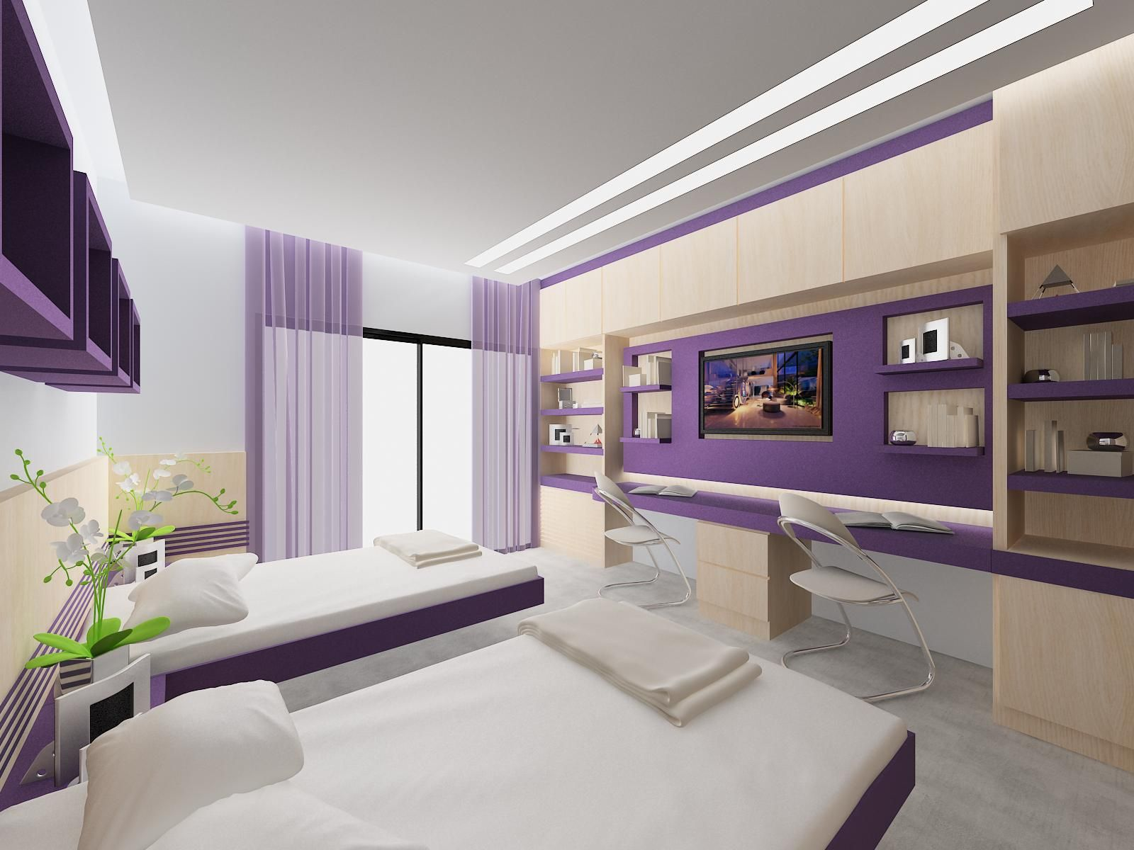 Bedroom design for 2 girls - Wonderful False Ceiling Lights For Teen Girls Bedroom Designs