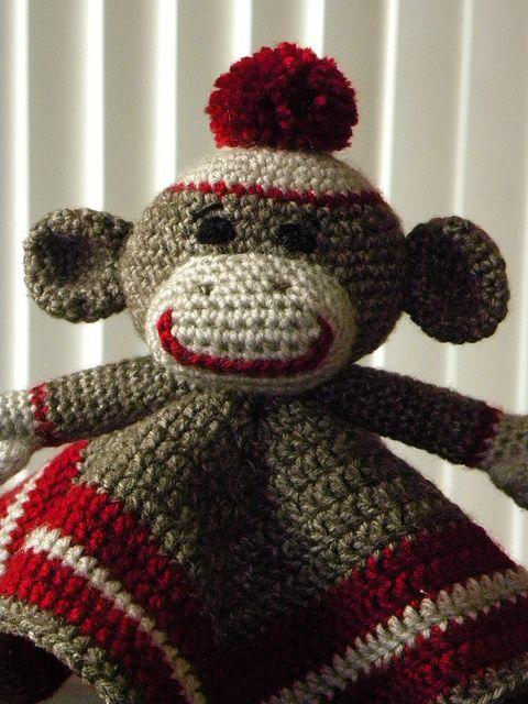 Carriechelles Sock Monkey Lovey Baby Crochet Sock Monkeys