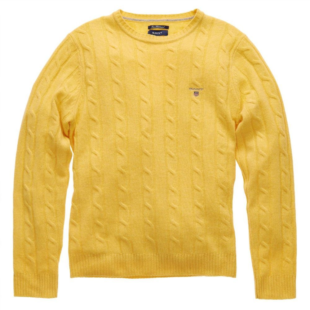 6ed713800d9 Gant Lambswool Cable Crew Jumper Yellow - was £115 NOW £90 with FREE UK  Delivery #Fashion #Gant #Mens #Menswear #Sale #Knitwear
