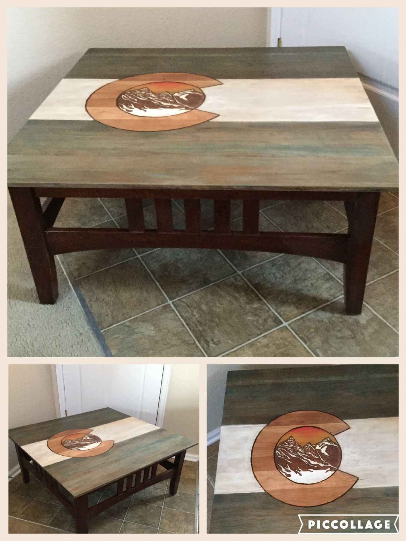 Hand painted wood burned Colorado coffee table