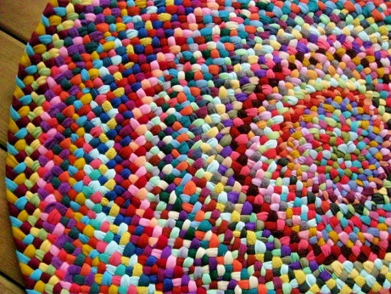 Braided Round Rug In Upcycled Cotton