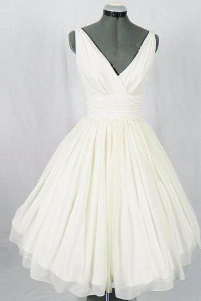 homecoming dresses,white v neck chiffon short prom dress, homecoming ...