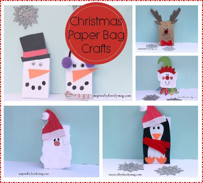 Christmas Paper Bag Crafts - love the snowman dude with the ear muffs.