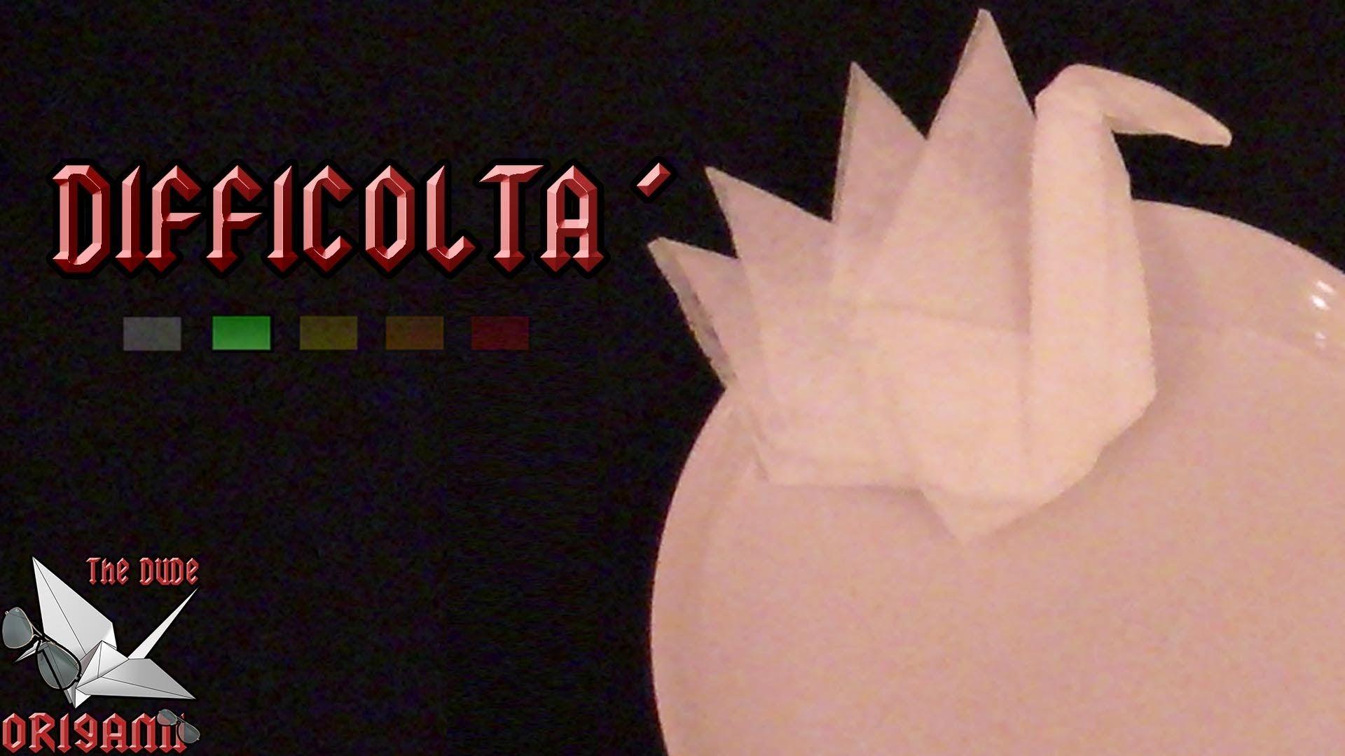 ORIGAMI ITA] Piega Del Tovagliolo: Cigno || Origami Per ...