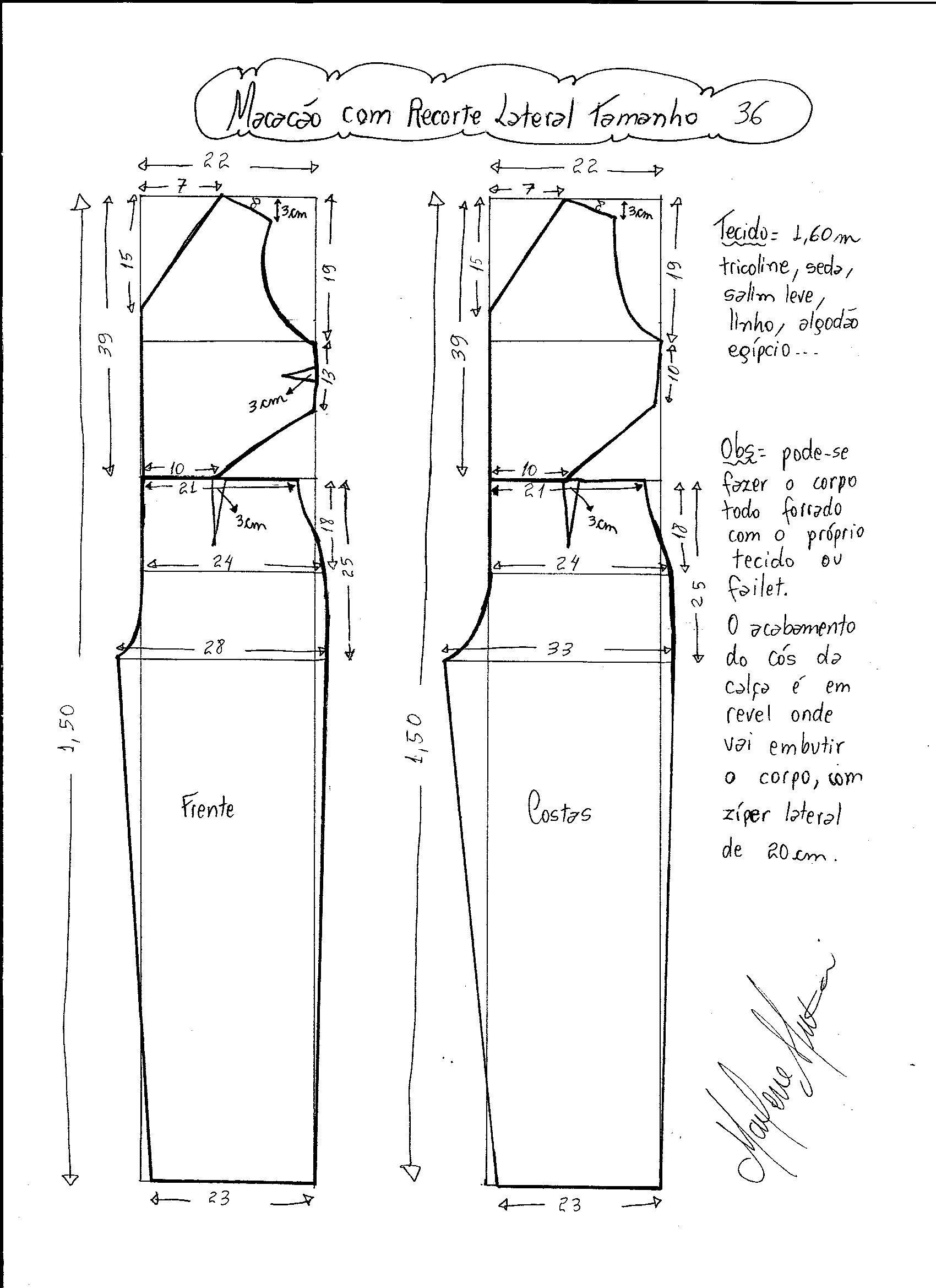 Macacão com Recorte Lateral | Sewing & Knitting | Patrón de mono ...