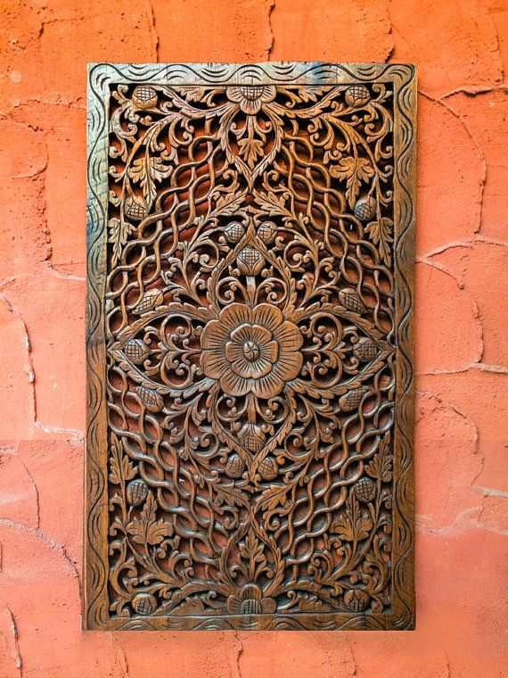 Carved Wood Headboard Wall Art Panel Or Wall Hanging A Unique