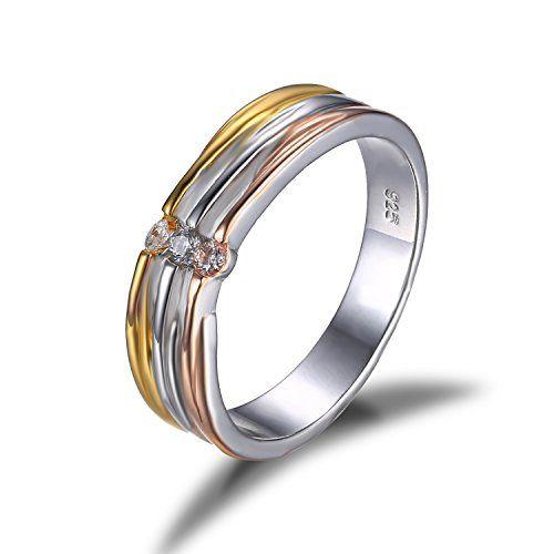 Jewelrypalace Cz Anniversario Fede Nuziale 2 Tone Con Pla Https Www Amazon It Dp B01eudlm1s Ref Cm Sw R Pi Anelli Fedi Nuziali Anelli Di Moda Fedi Nuziali