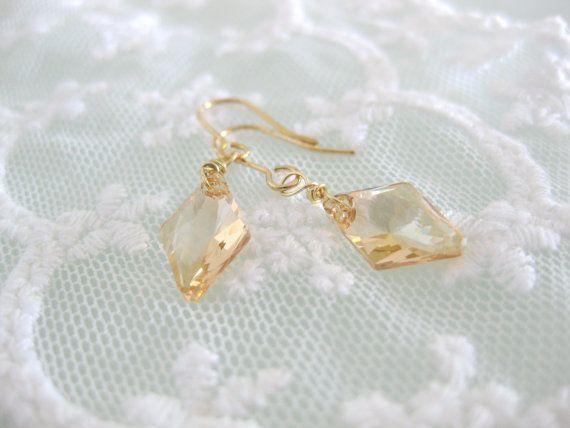 Diamond shaped swarovski crystal earrings in brown by beadpod8, $18.00