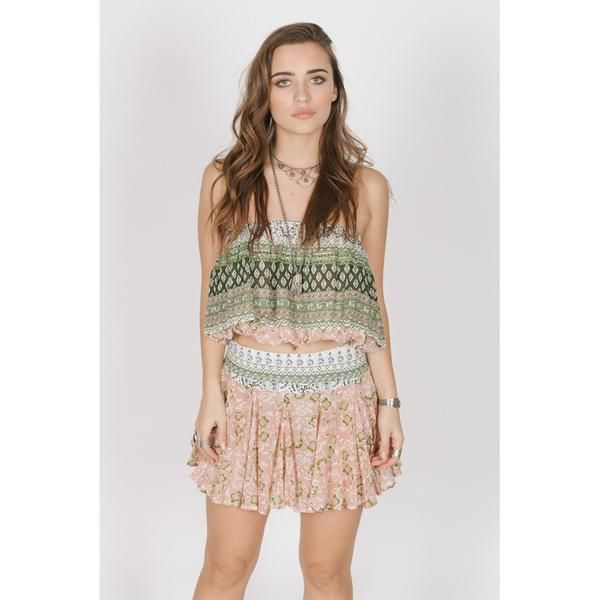 This piece is made of 100% Cotton  High waist, Draped skirt  *PAIR SWEET SLUMBER CROP*  Hand wash cold, lay flat to dry  Model is wearing a size Small